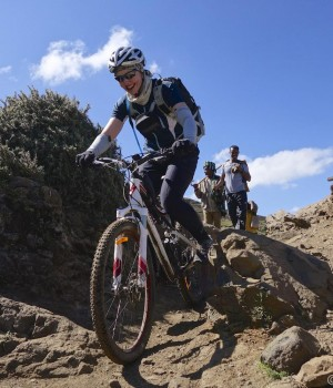 Descending the single track of the Simien Mountains Ethiopia