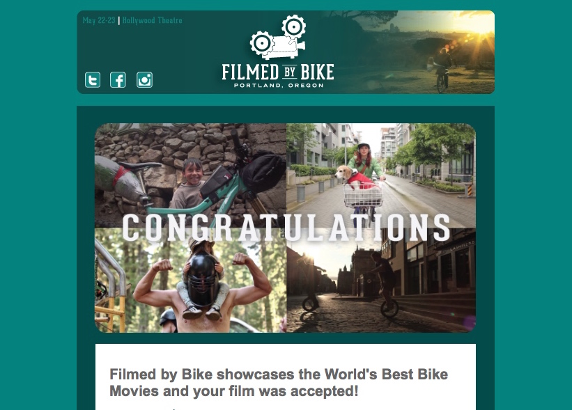 Congrats Email Screened By Bike
