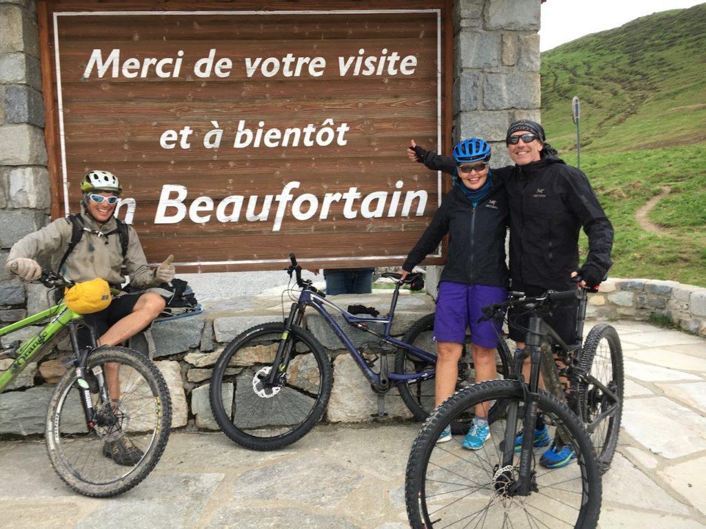 Three mountain bikers on the Tour Du Mont Blanc Beaufortain
