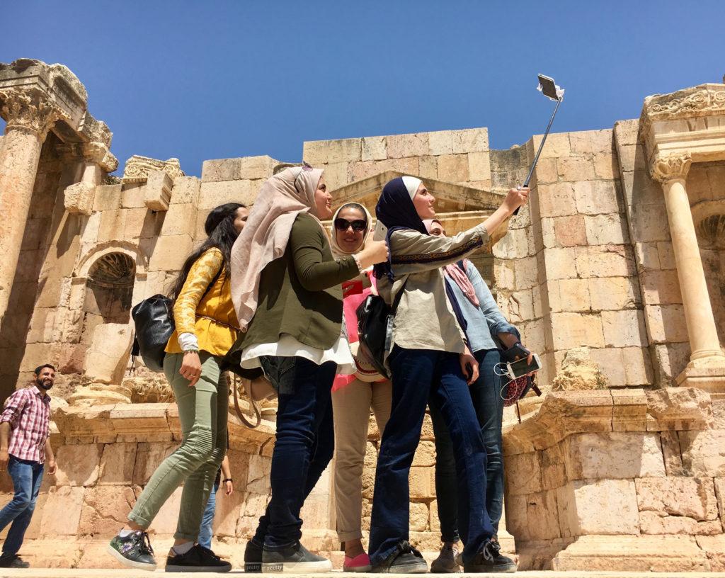 Girls taking a selfie in Jerash